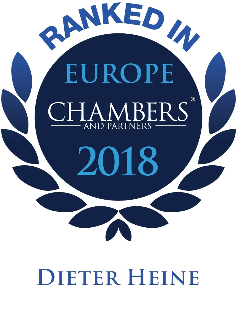 Dieter Heine is ranked Band 4 in Dispute Resolution by Chambers Europe 2018