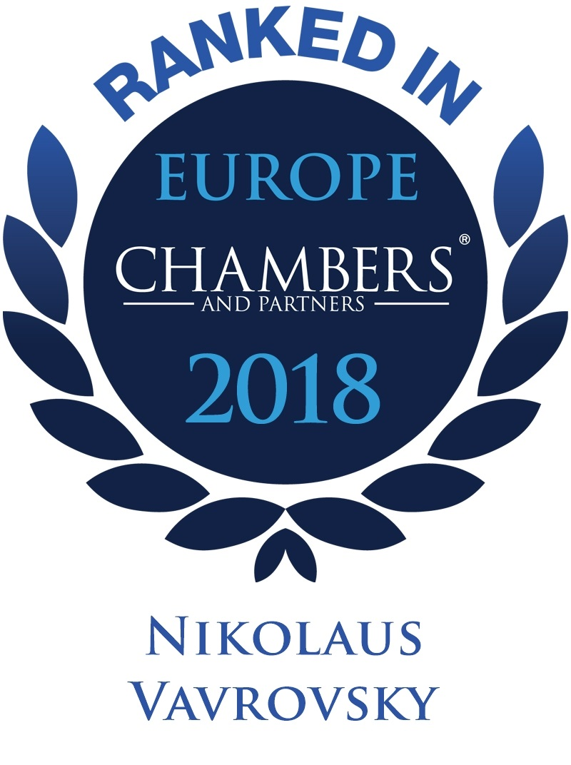 Nikolaus Vavrovsky is ranked Band 4 in Real Estate and Dispute Resolution by Chambers Europe 2018