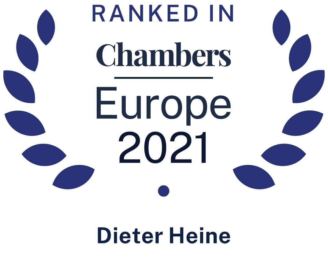 Chambers Europe 2021 ranked Dieter Heine in Dispute Resolution