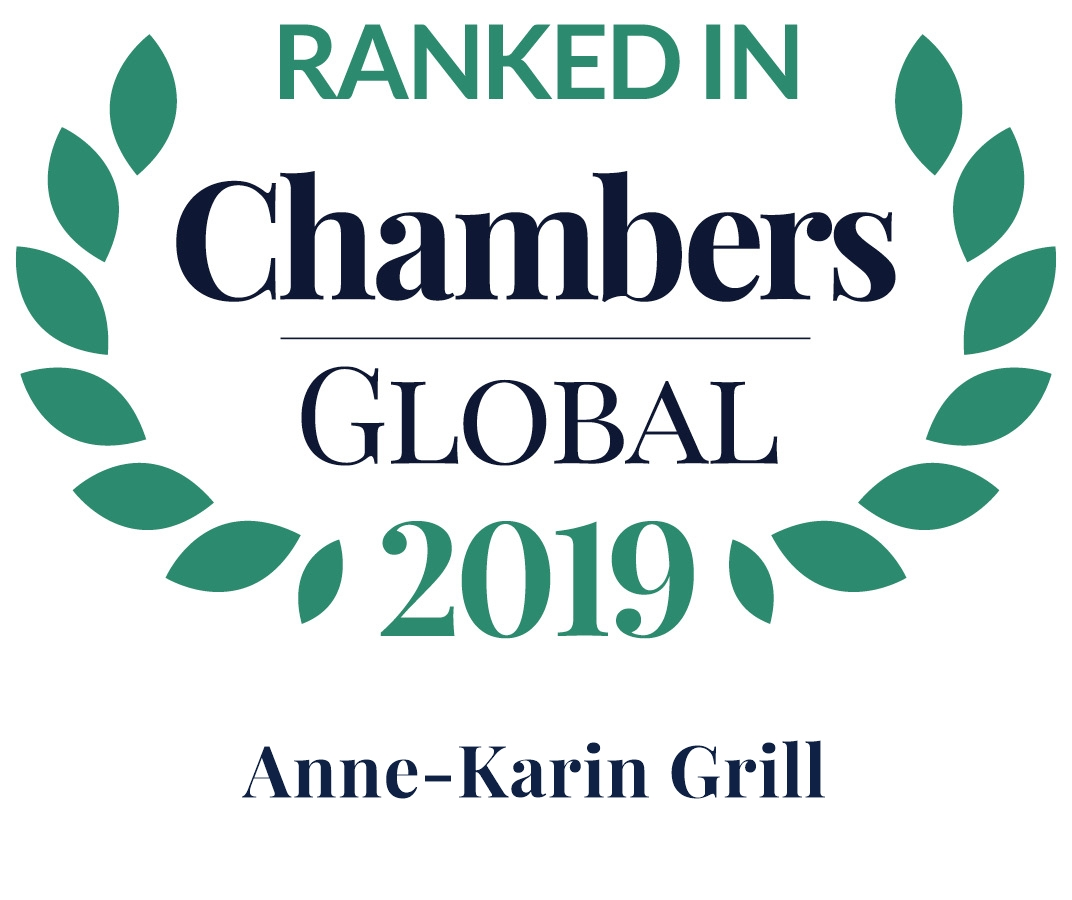 Chambers Global 2019: Anne-Karin Grill is Leading Individual in Dispute Resolution: Arbitration