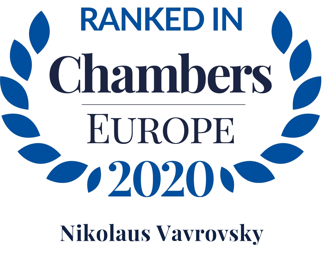 Chambers Europe 2020: Nikolaus Vavrovsky is Leading Individual in Dispute Resolution: Arbitration and Dispute Resolution: Litigation