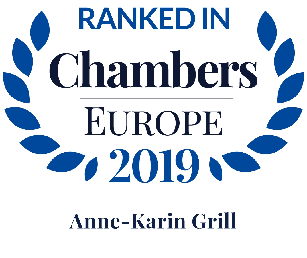 Chambers Europe 2019: Anne-Karin Grill ist Band 4 in Dispute Resolution: Arbitration