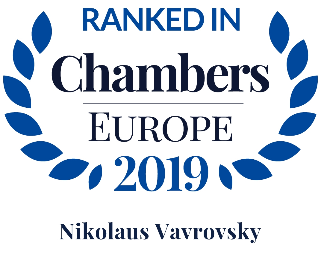 Chambers Europe 2019: Nikolaus Vavrovsky is Leading Individual in Dispute Resolution: Arbitration and Dispute Resolution: Litigation