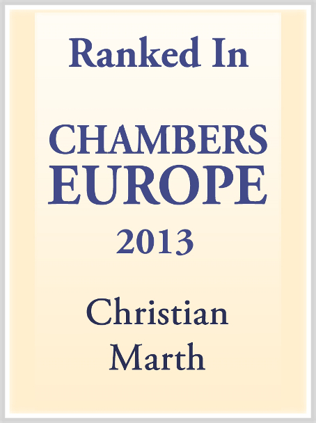 Chambers Europe 2013 empfiehlt Christian Marth als Top-Experte in Real Estate
